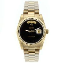 Replique Rolex Day-Date en or entièrement automatique avec cadran noir - Attractive montre Rolex Day Date 22611 pour vous