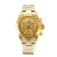 Replik Rolex Daytona Automatic Full Gold with Golden Dial-Diamond Marking – Attractive Rolex Daytona Watch for You 24032