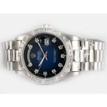 Replique Rolex Day-Date lunette automatique diamant carré avec cadran bleu - Attractive montre Rolex Day Date 22608 pour vous
