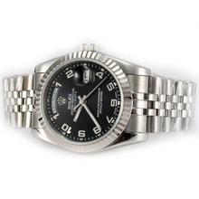 Replique Rolex Day-Date automatique avec cadran noir-Nombre Marquage - Attractive montre Rolex Day Date 22596 pour vous