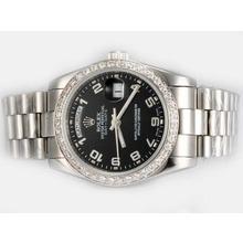 Replique Rolex Day-Date automatique lunette sertie de diamants avec cadran noir-Nombre de marquage - Attractive montre Rolex Day Date 22594 pour vous