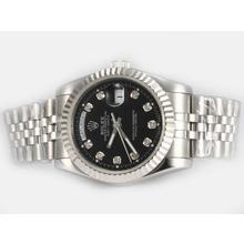 Replique Rolex Day-Date diamant marquage automatique avec cadran noir - Attractive montre Rolex Day Date 22589 pour vous