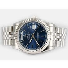 Replique Rolex Day-Date automatique avec cadran bleu Bâton-Marquage - Attractive montre Rolex Day Date 22587 pour vous