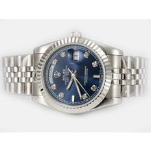 Replique Rolex Day-Date diamant marquage automatique avec cadran bleu - Attractive montre Rolex Day Date 22585 pour vous