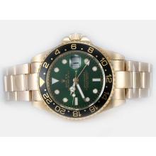 Replique Rolex GMT-Master II automatique or avec cadran vert complet et lunette noire - Attractive Rolex GMT Regarder pour vous 24390