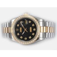 Replique Rolex Datejust automatique à deux lunette sertie de diamants tonalité et le marquage avec cadran noir ordinateur - Attractive montre Rolex DateJust pour vous 21863
