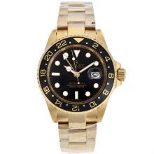 Replique Rolex GMT-Master II automatique or pleine de style avec Oyster cadran noir-Nouvelle-bracelet Mise à jour - Attractive Rolex GMT Regarder pour vous 24386
