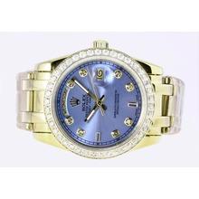 Replique Rolex Masterpiece automatique complet de diamant d'or marquage et lunette avec cadran bleu - Attractive montre Rolex Masterpiece pour vous 24690