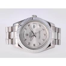 Replique Rolex Day-Date II automatique avec diamant Marquage Cadran Argent-41mm nouvelle version - Attractive Rolex Day Date II Montre pour vous 23014