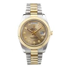 Replique Rolex Day-Date II automatique Two Tone Diamant Marquage avec Golden Dial-41mm nouvelle version - Attractive Rolex Day Date II Montre pour vous 23007