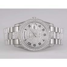 Replique Rolex Day-Date automatique avec plein de diamants-Nombre Marquage - Attractive montre Rolex Day Date 22554 pour vous