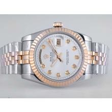 Replique Rolex Day-Date automatique à deux tons diamant marquage avec cadran argenté - Attractive montre Rolex Day Date 22553 pour vous