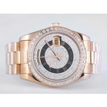 Replique Rolex Day-Date automatique lunette pleine de diamant d'or et Dial-romaine Marquage - Attractive montre Rolex Day Date 22552 pour vous