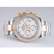 Replique Rolex Daytona Chronograph de travail à deux tons lunette sertie de diamants avec cadran blanc - Attractive Rolex Daytona Montre pour vous 23883