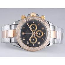 Replique Rolex Daytona Chronograph de travail à deux tons lunette sertie de diamants avec cadran noir-Nombre de marquage - Attractive Rolex Daytona Montre pour vous 23882