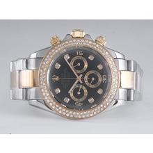Replique Rolex Daytona Chronograph de travail de deux tons Diamant Marquage et lunette avec cadran noir - Attractive Rolex Daytona Montre pour vous 23881
