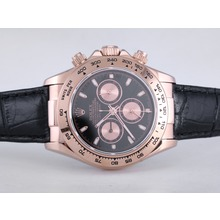 Replique Rolex Daytona-Chronographe en or rose avec cadran noir-bracelet en cuir - Attractive Rolex Daytona Montre pour vous 23880