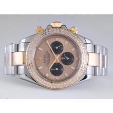 Replique Rolex Daytona Chronograph de travail à deux tons avec lunette sertie de diamants Cadran Or - Attractive Rolex Daytona Montre pour vous 23879