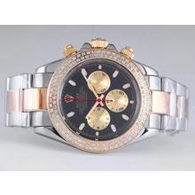 Replique Rolex Daytona Chronograph de travail à deux tons lunette sertie de diamants avec cadran noir - Attractive Rolex Daytona Montre pour vous 23878