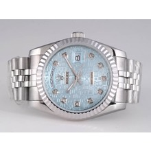 Replique Rolex Day-Date diamant marquage automatique avec cadran bleu ordinateur - Attractive montre Rolex Day Date 22551 pour vous