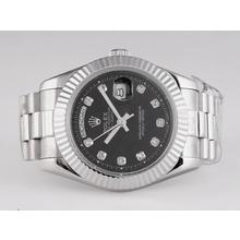 Replique Rolex Day-Date diamant marquage automatique avec cadran noir - Attractive montre Rolex Day Date 22548 pour vous