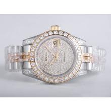 Replique Rolex Datejust Swiss ETA 2836 Mouvement deux tons avec diamant La pleine - Attractive montre Rolex DateJust pour vous 21678