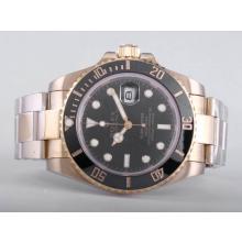 Replique Rolex Submariner automatique pleine d'or avec cadran noir-Lunette Céramique - Attractive montre Rolex Submariner 25182 pour vous