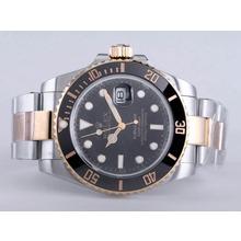 Replique Rolex Submariner automatique Two Tone avec cadran noir-Lunette Céramique - Attractive montre Rolex Submariner 25181 pour vous