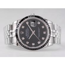 Replique Rolex Datejust Swiss ETA 2836 Mouvement rubis noir Lunette avec cadran noir-Diamant Marquage - Attractive montre Rolex DateJust pour vous 21674