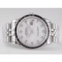 Replique Rolex Datejust Swiss ETA 2836 Mouvement rubis noir Lunette avec cadran blanc-Diamant Marquage - Attractive montre Rolex DateJust pour vous 21673