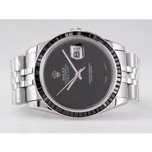 Replique Rolex Datejust Swiss ETA 2836 Mouvement avec rubis noir Lunette-Pearl Dial Noir - Attractive montre Rolex DateJust pour vous 21672
