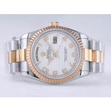 Replique Rolex Day-Date Swiss ETA 2836 Mouvement deux tons avec cadran blanc-ondes Nombre de marquage - Attractive montre Rolex Day Date 22534 pour vous