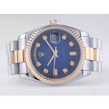 Replique Rolex Day-Date Swiss ETA 2836 Mouvement deux tons avec cadran bleu-Diamant Marquage - Attractive montre Rolex Day Date 22533 pour vous