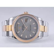Replique Rolex Day-Date Swiss ETA 2836 Mouvement deux tons avec cadran gris-Stick Marquage - Attractive montre Rolex Day Date 22532 pour vous