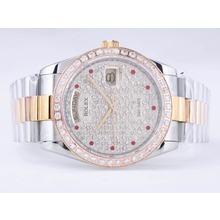 Replique Rolex Day-Date Swiss ETA 2836 Mouvement Deux Diamond Bezel Dial Tone et-rouge Marquage - Attractive montre Rolex Day Date 22530 pour vous