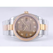 Replique Rolex Day-Date Swiss ETA 2836 Mouvement deux tons avec cadran or-Diamant Marquage - Attractive montre Rolex Day Date 22529 pour vous