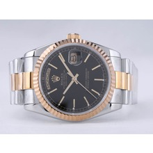 Replique Rolex Day-Date Swiss ETA 2836 Mouvement deux tons avec cadran noir-Stick Marquage - Attractive montre Rolex Day Date 22528 pour vous