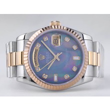 Replique Rolex Day-Date Swiss ETA 2836 Mouvement deux tons avec Blue MOP Dial-Diamant Marquage - Attractive montre Rolex Day Date 22527 pour vous