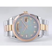 Replique Rolex Day-Date Swiss ETA 2836 Mouvement deux tons avec cadran vert RdP-Diamant Marquage - Attractive montre Rolex Day Date 22526 pour vous