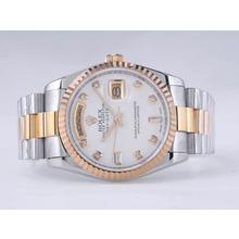 Replique Rolex Day-Date Swiss ETA 2836 Mouvement deux tons avec MOP Dial-Diamant Marquage - Attractive montre Rolex Day Date 22525 pour vous