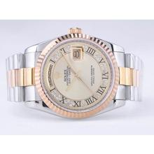 Replique Rolex Day-Date Swiss ETA 2836 Mouvement deux tons avec Golden Dial-romaine Marquage - Attractive montre Rolex Day Date 22524 pour vous