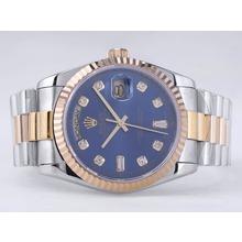 Replique Rolex Day-Date Swiss ETA 2836 Mouvement deux tons avec cadran bleu-Diamant Marquage - Attractive montre Rolex Day Date 22523 pour vous