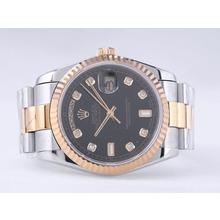 Replique Rolex Day-Date Swiss ETA 2836 Mouvement deux tons avec cadran noir-Diamant Marquage - Attractive montre Rolex Day Date 22522 pour vous