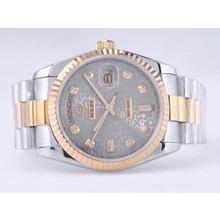 Replique Rolex Day-Date Swiss ETA 2836 Mouvement deux tons avec Gray Computer Dial-Diamant Marquage - Attractive montre Rolex Day Date 22521 pour vous