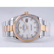 Replique Rolex Day-Date Swiss ETA 2836 Mouvement deux tons avec cadran blanc-Diamant Marquage - Attractive montre Rolex Day Date 22494 pour vous