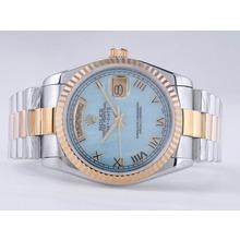 Replique Rolex Day-Date Swiss ETA 2836 Mouvement deux tons avec cadran bleu RdP-romaine Marquage - Attractive montre Rolex Day Date 22493 pour vous