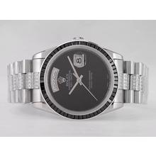 Replique Rolex Day-Date Swiss ETA 2836 Mouvement avec rubis noir Lunette-Pearl Dial Noir - Attractive montre Rolex Day Date 22490 pour vous