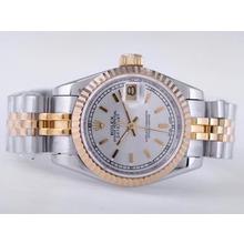 Replique Rolex Datejust Swiss ETA 2671 Mouvement deux tons avec cadran argenté Bâton-Taille-Dame Marquage - Montre Rolex DateJust attrayant pour vous 21483