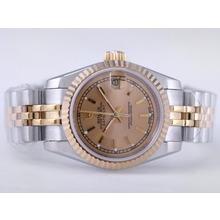 Replique Rolex Datejust Swiss ETA 2671 Mouvement deux tons avec Golden Dial-Stick Taille Dame Marquage - Montre Rolex DateJust attrayant pour vous 21482