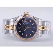 Replique Rolex Datejust Swiss ETA 2671 Mouvement deux tons avec cadran bleu Bâton-Taille-Dame Marquage - Montre Rolex DateJust attrayant pour vous 21479